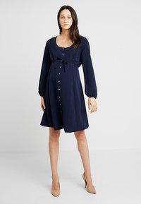 Dorothy Perkins Maternity - BUTTON TEA DRESS - Košilové šaty - navy - 0