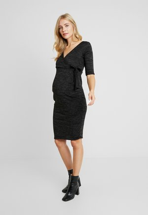 GRY RUCH WRAP DRESS - Strikkjoler - charcoal