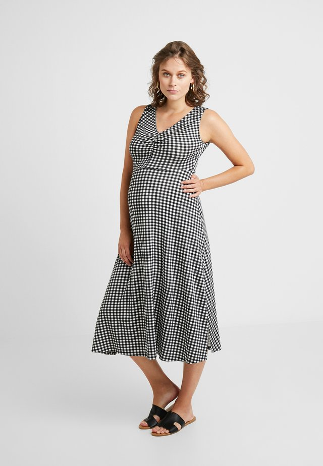 GINGHAM SPLIT FRONT SLEEVELESS MIDI - Jerseykleid - black