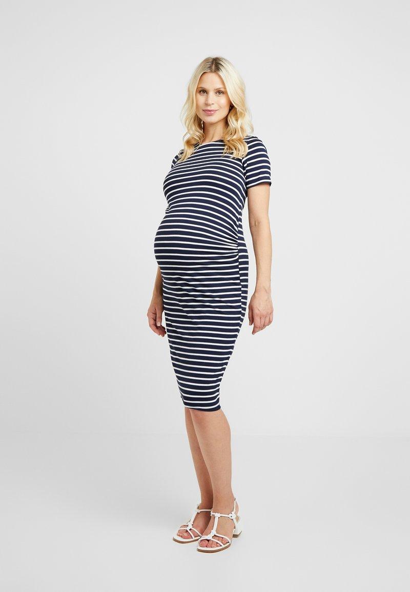Dorothy Perkins Maternity - STRIPE SLEEVE SLEEVE BODYCON DRESS - Vestido ligero - navy