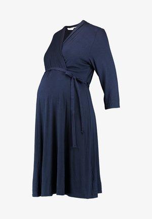 NURSING RUCHED WRAP DRESS - Jerseyjurk - navy