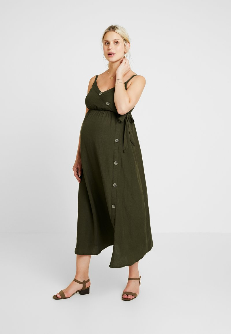 Dorothy Perkins Maternity - BUTTON FRONT DRESS - Freizeitkleid - khaki