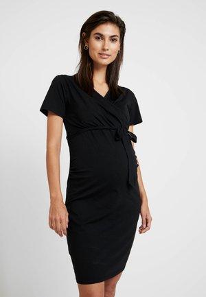 RUCH WRAP NURSING DRESS - Vestito di maglina - black