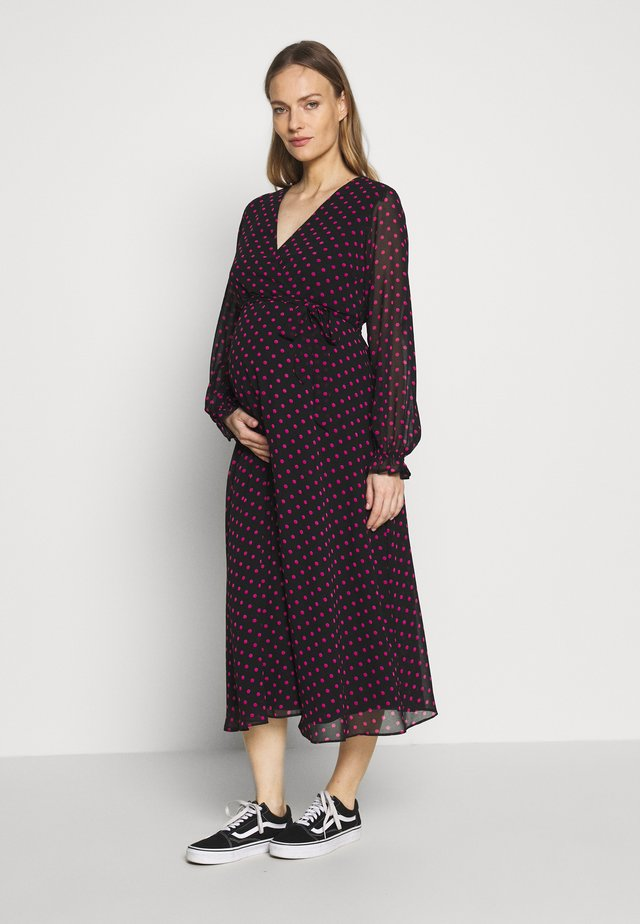 SPOT WRAP DRESS - Denní šaty - black
