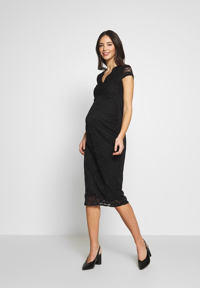 V NECK BODYCON DRESS - Day dress - black