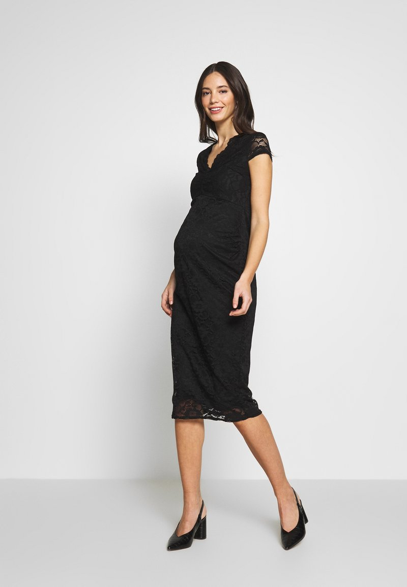 Dorothy Perkins Maternity - V NECK BODYCON DRESS - Denní šaty - black