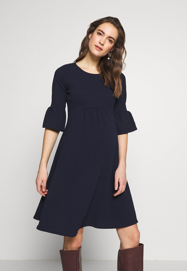 FLUTE SLEEVE FIT AND FLARE DRESS - Jerseykjoler - navy