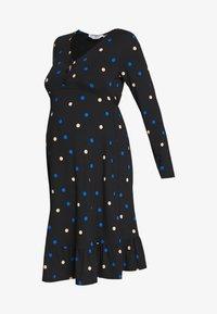 Dorothy Perkins Maternity - MATERNITY NECK TIERED COLOURED SPOT PRINT DRESS - Vestido ligero - black - 4