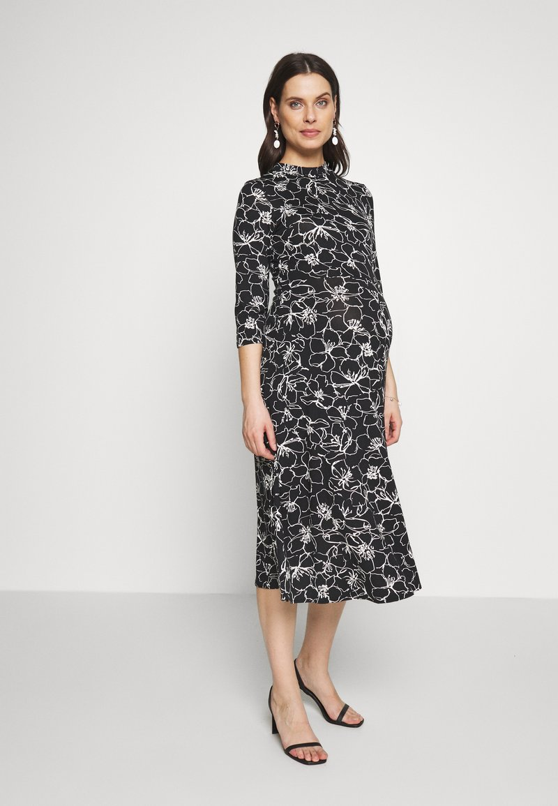 Dorothy Perkins Maternity - SKETCH FLORAL DRESS - Jerseykjoler - black