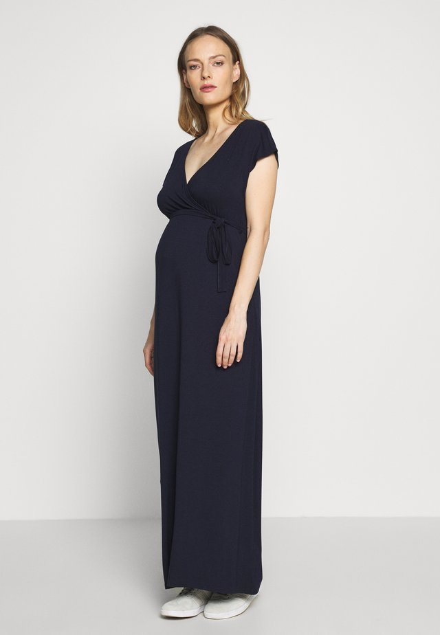 MATERNITY PLAIN MAXI DRESS - Žerzejové šaty - navy