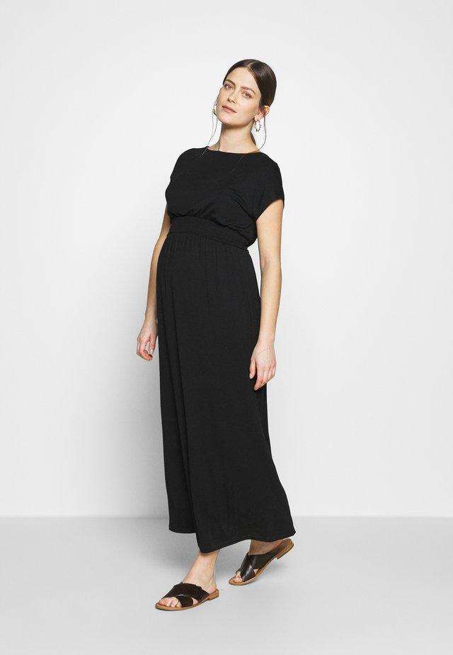 MATERNITY PLAIN SHIRRED MAXI DRESS - Długa sukienka - black