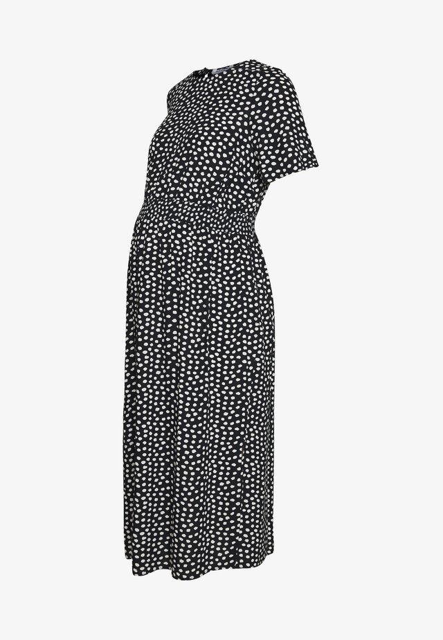 FLORAL SHIRRED WAIST MIDI DRESS - Korte jurk - black