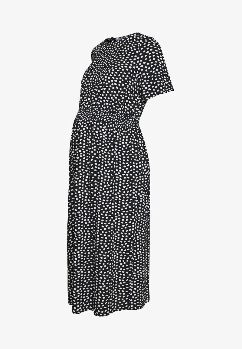 Dorothy Perkins Maternity - FLORAL SHIRRED WAIST MIDI DRESS - Sukienka letnia - black
