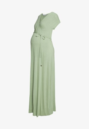 PLAIN WRAP DRESS - Długa sukienka - sage