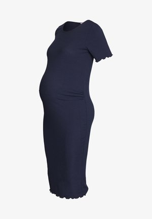 SHORT SLEEVE LETTUCE EDGE MIDI BODYCON DRESS - Etuikjole - navy