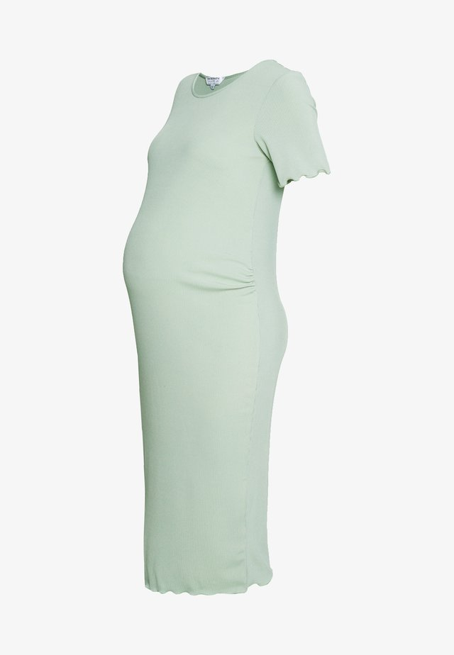 SHORT SLEEVE LETTUCE EDGE MIDI BODYCON DRESS - Sukienka etui - sage
