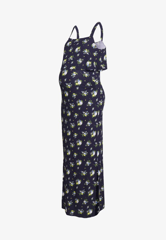 MATERNITY FLORAL SLEEVELESS LAYERED DRESS - Jersey dress - navy