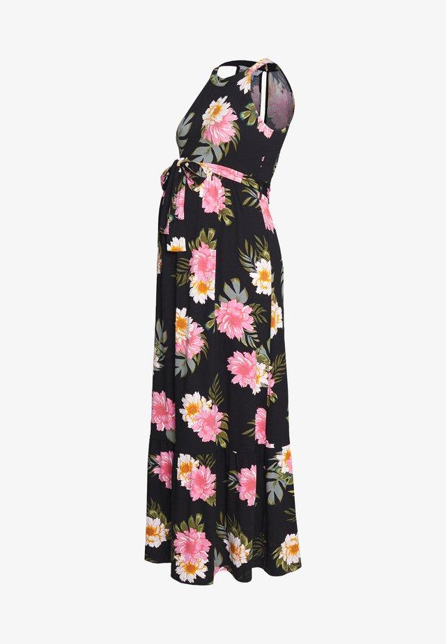 FLORAL HALTER DRESS - Maxi-jurk - black