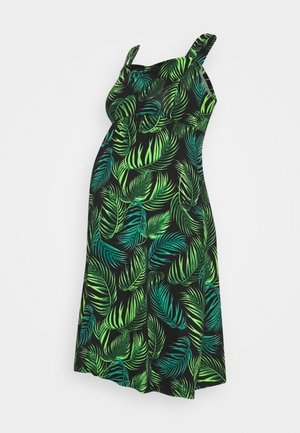 LEAF PRINT RUCHED FRONT CAMI FIT AND FLARE DRESS - Jersey dress - black