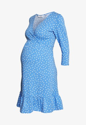 SPOT PRINT WRAP FIT AND FLARE DRESS - Žerzejové šaty - blue
