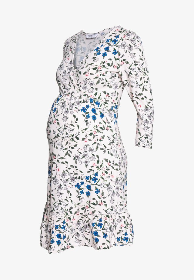 MATERNITY FLORAL WRAP FIT AND FLARE DRESS - Jerseykjoler - ivory