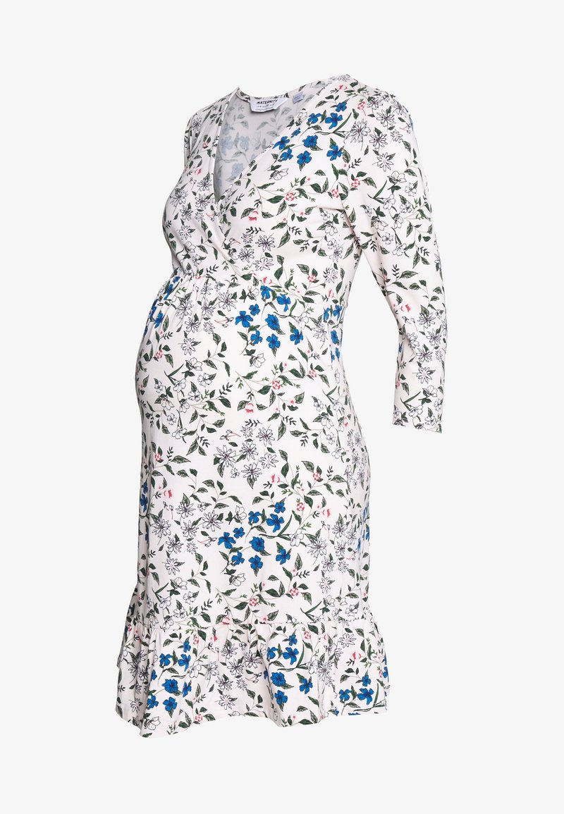 Dorothy Perkins Maternity - MATERNITY FLORAL WRAP FIT AND FLARE DRESS - Žerzejové šaty - ivory