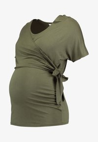 Dorothy Perkins Maternity - SHORT SLEEVE BALET WRAP - Camiseta estampada - khaki - 4