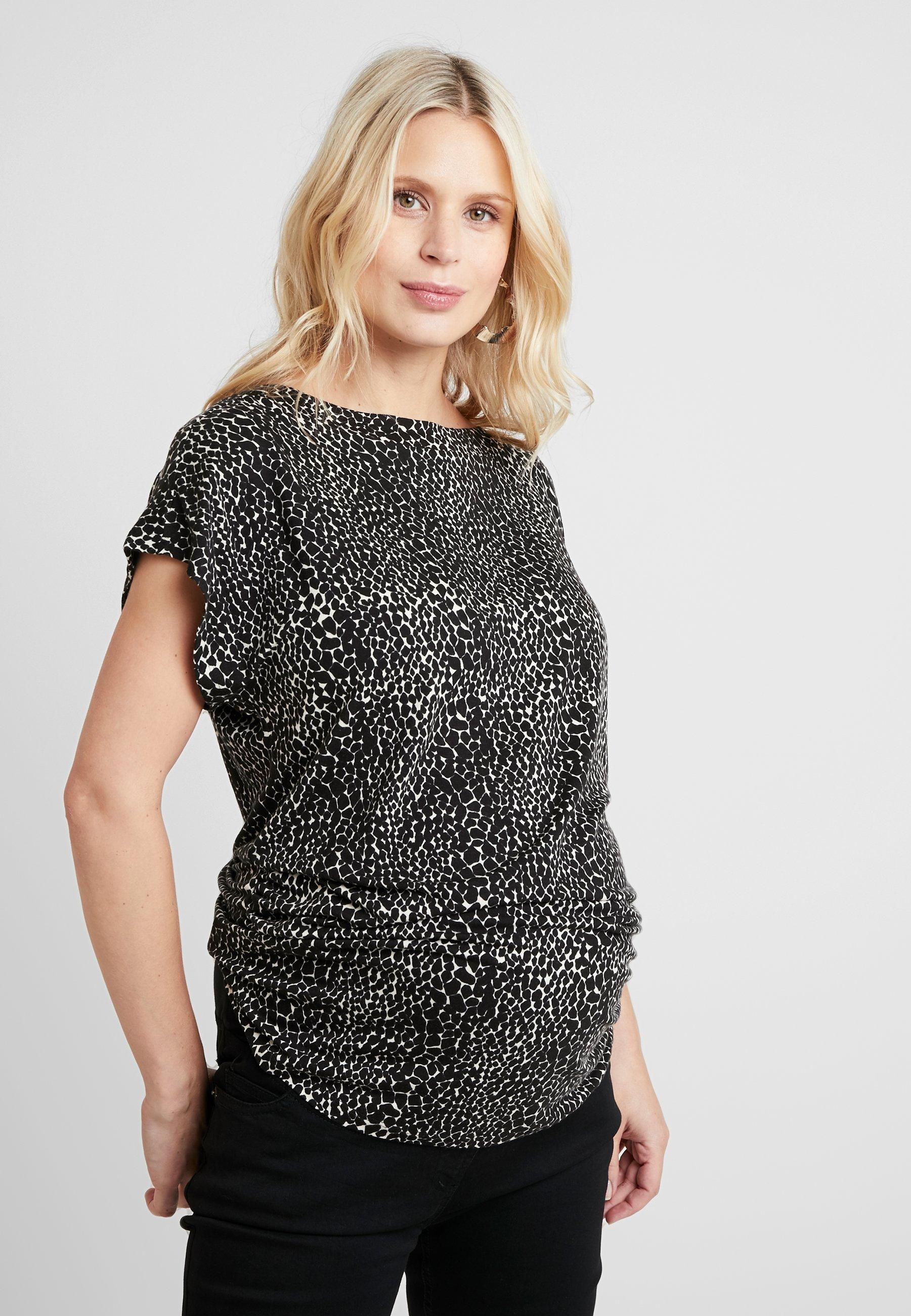 Maternity Button Dorothy Shoulder Neck Black Perkins shirt Boat TeeT Imprimé n0PwOk