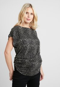 Dorothy Perkins Maternity - BUTTON SHOULDER BOAT NECK TEE - Printtipaita - black - 0