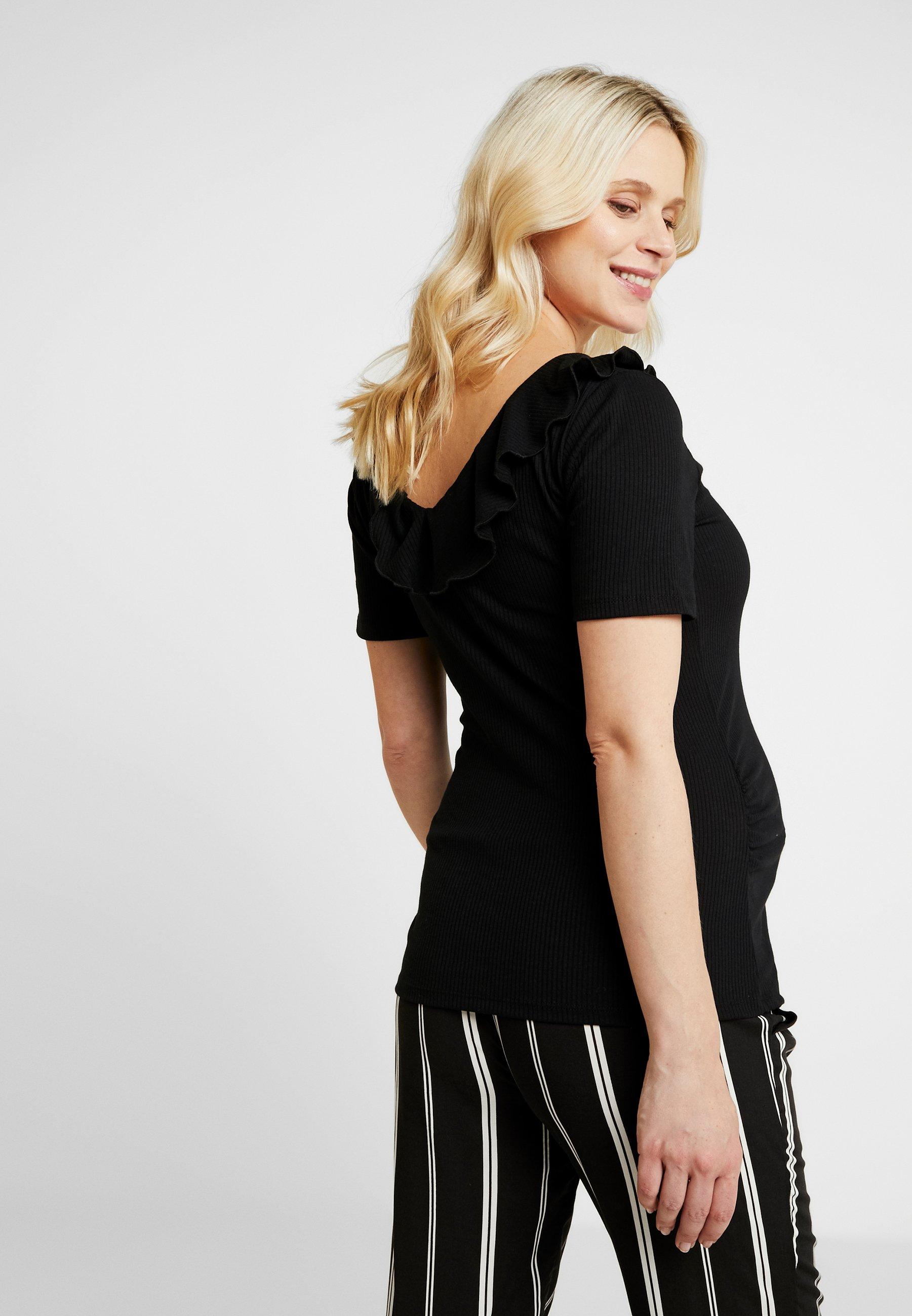 shirt Maternity Neck Imprimé Perkins V Dorothy RuffleT Black gf7b6y