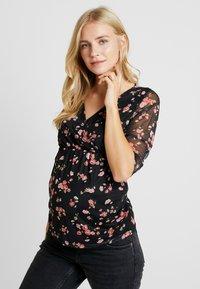 Dorothy Perkins Maternity - FLORAL RUCH WRAP - Langærmede T-shirts - black - 0