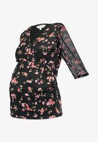 Dorothy Perkins Maternity - FLORAL RUCH WRAP - Langærmede T-shirts - black - 3