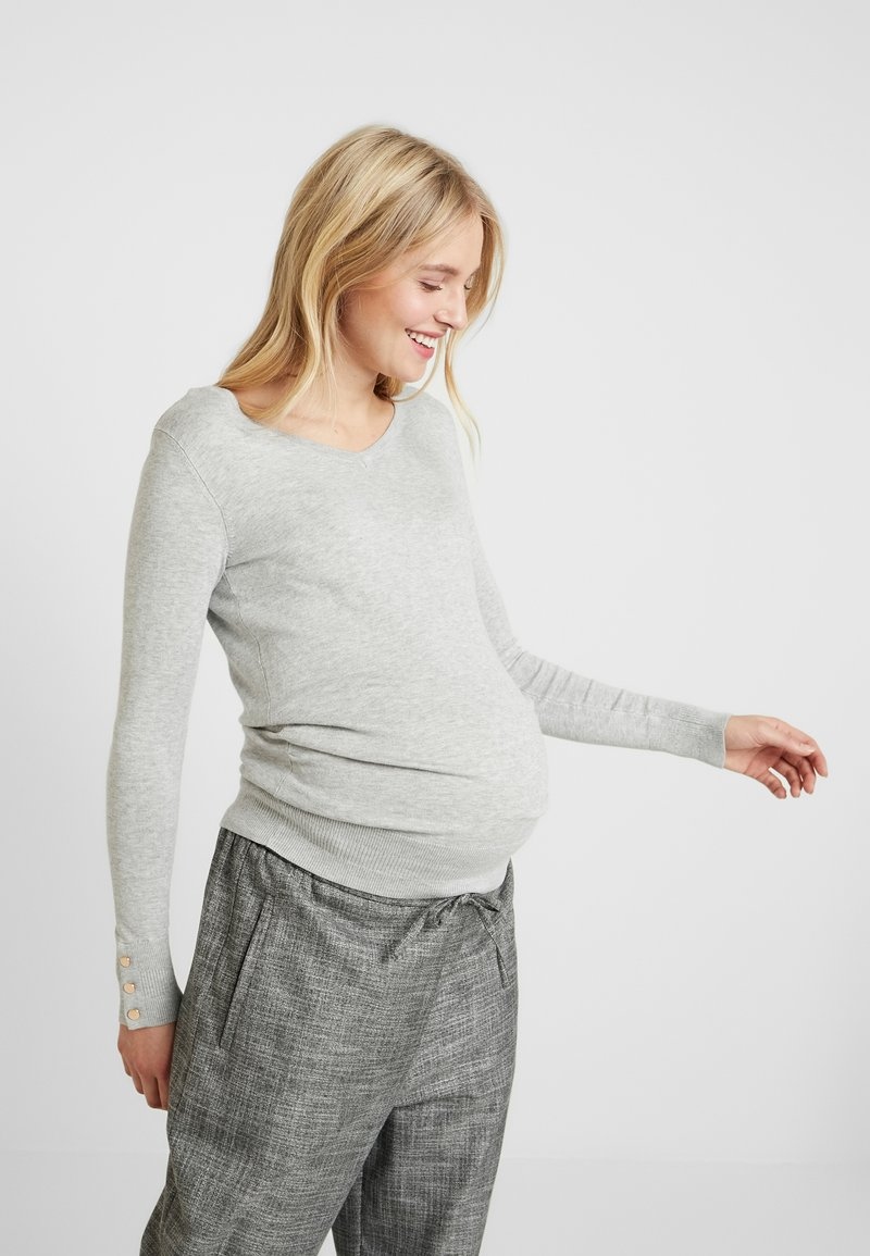Dorothy Perkins Maternity - V NECK BUTTON CUFF - T-shirt à manches longues - grey