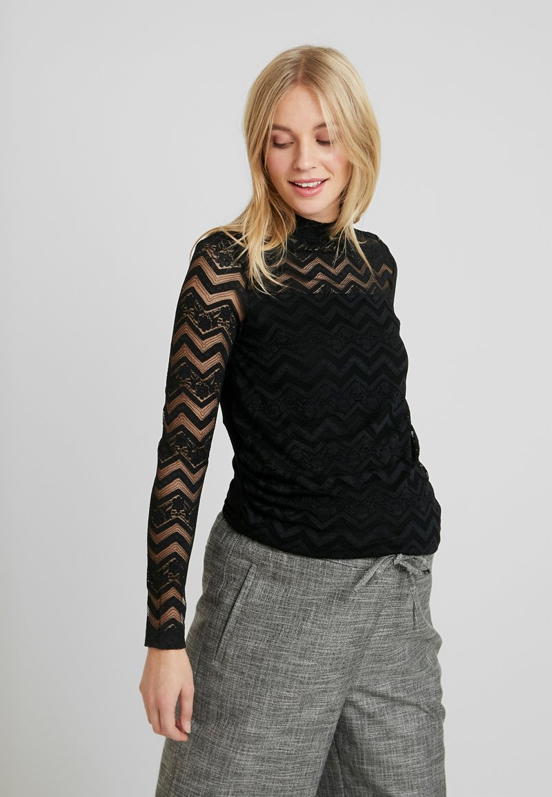 Dorothy Perkins Maternity - ZIG ZAG LONG SLEEVE - Blůza - black