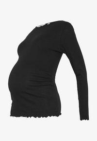 Dorothy Perkins Maternity - LONG SLEEVE LETTUCE EDGE TOP - Camiseta de manga larga - black - 3
