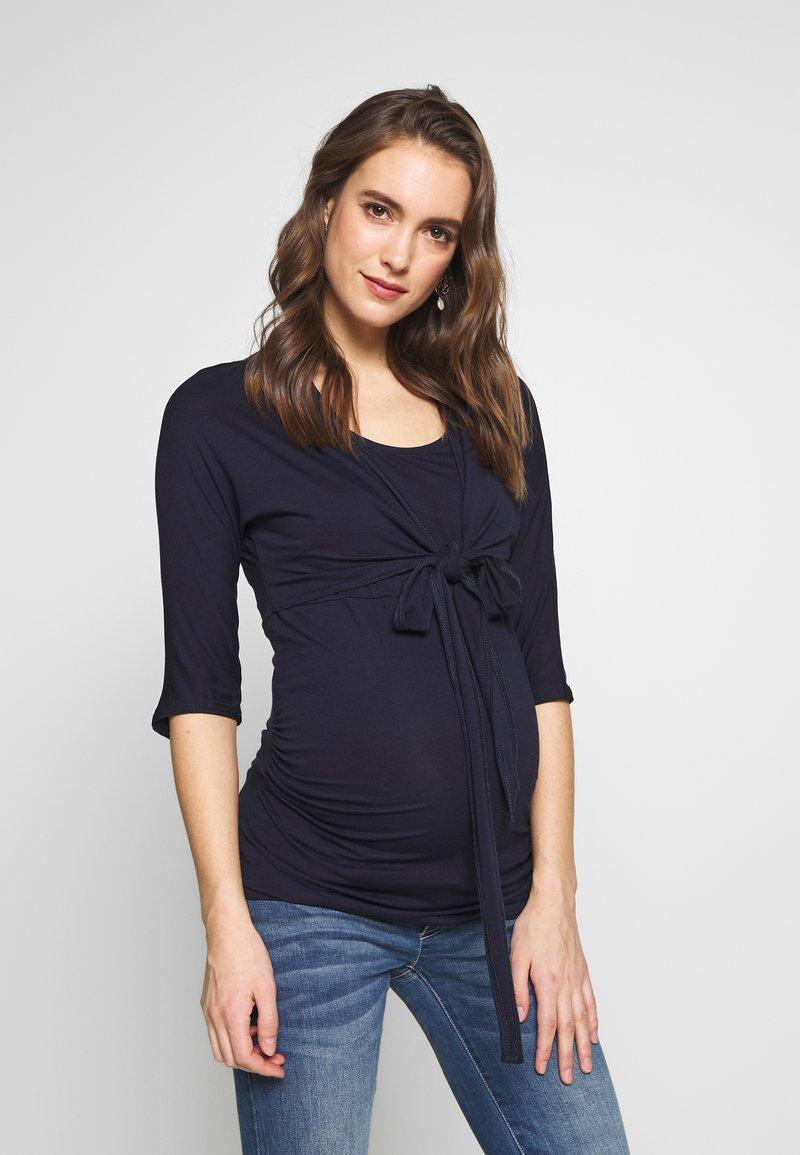 Dorothy Perkins Maternity - PLAIN SLEEVE NURSING BALLET WRAP - Camiseta de manga larga - navy