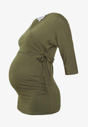 PLAIN SHORT SLEEVE NURSING BALLET WRAP - Long sleeved top - khaki