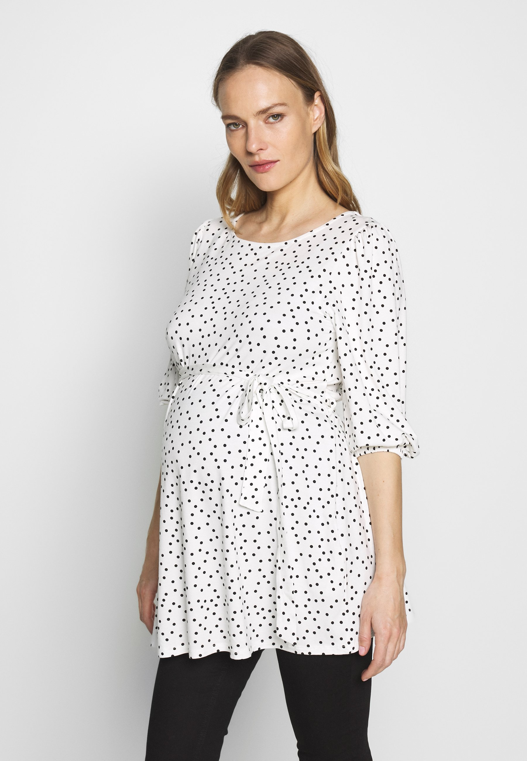 Dorothy Perkins Maternity MATERNITY TIE WAIST SPOT PRINT TUNIC TOP - Topper langermet - ivory