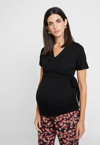 Dorothy Perkins Maternity - BALLET WRAP - Camiseta estampada - black - 0