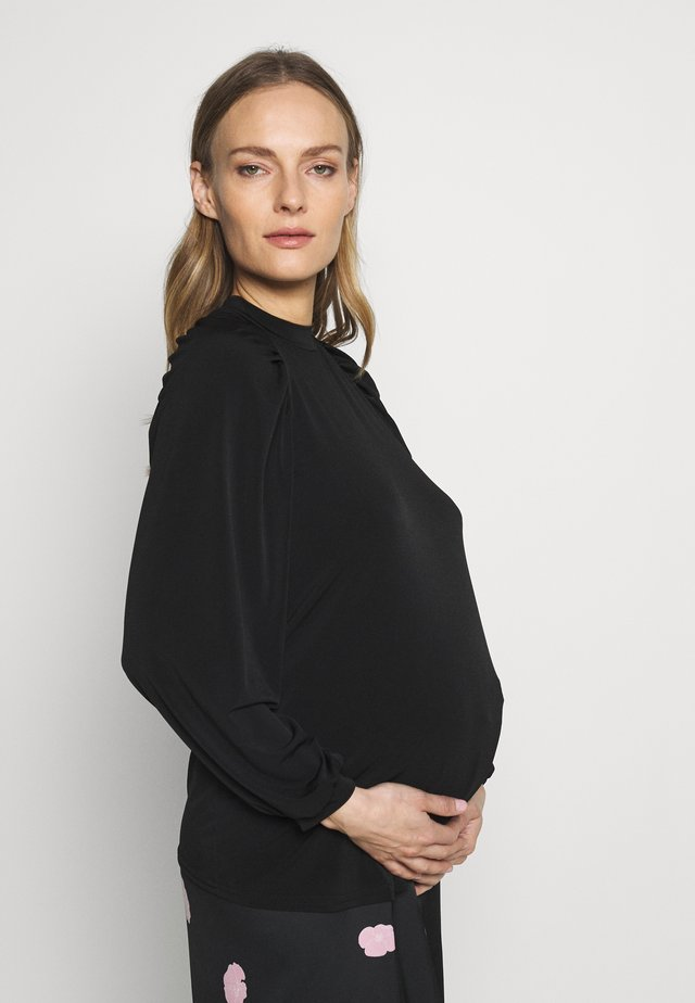 MATERNITY RUCH SLEEVE GATHERED LONG SLEEVE TOP - Langærmede T-shirts - black