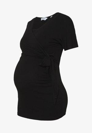 PLAIN SHORT SLEEVE NURSING BALLET WRAP - T-shirts - black