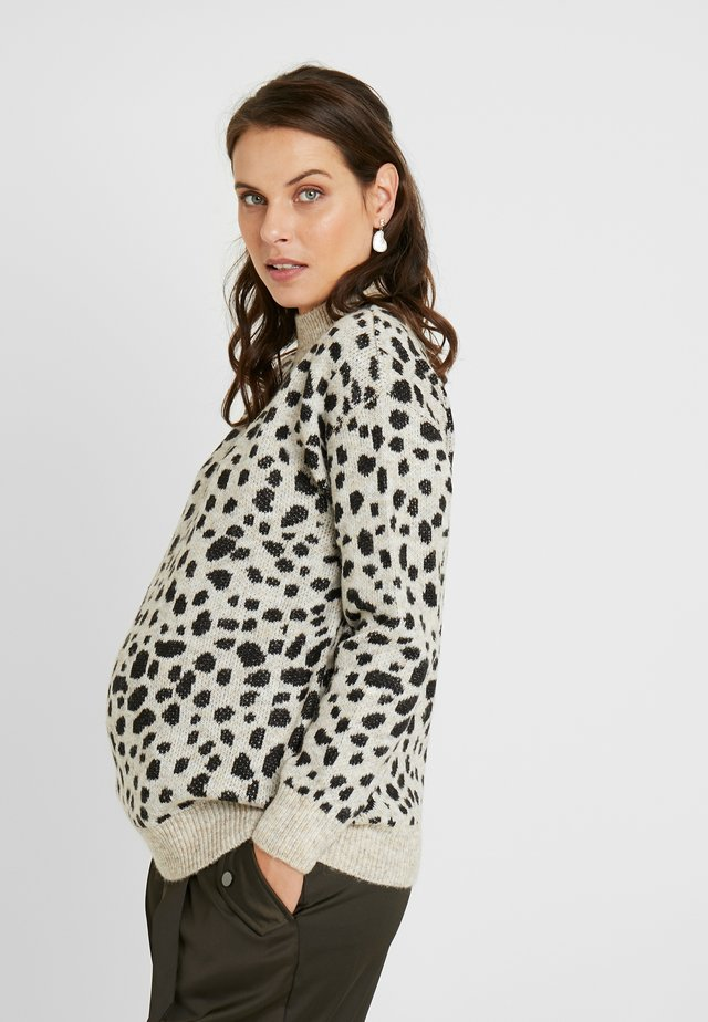 STEP HEM CHEETAH JUMPER - Jumper - camel
