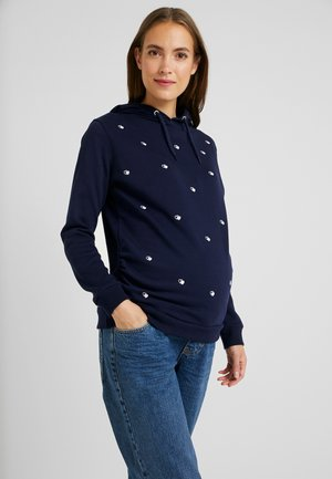 HEART EMBROIDERED HOODIE - Bluza z kapturem - navy