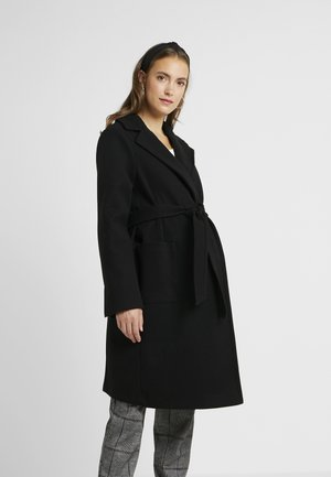 PATCH POCKET WRAP BELTED - Winter coat - black