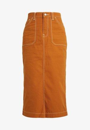 ICHIKO WORKER SKIRT - Denimová sukně - cognac