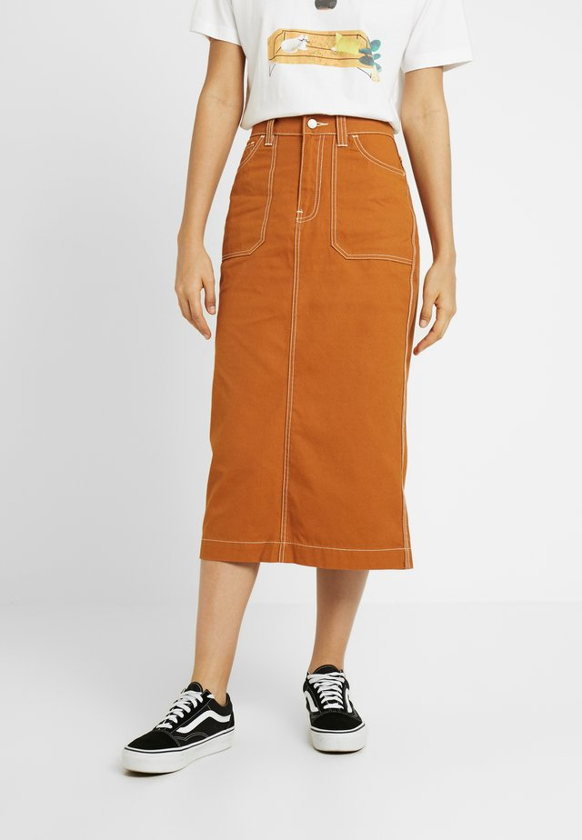 ICHIKO WORKER SKIRT - Denim skirt - cognac