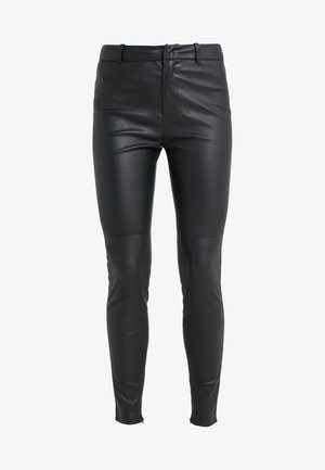 WINCH - Leather trousers - black