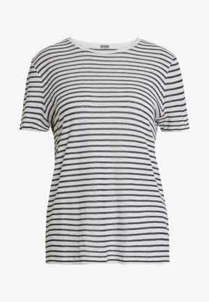 ANISIA - T-shirt imprimé - navy/white