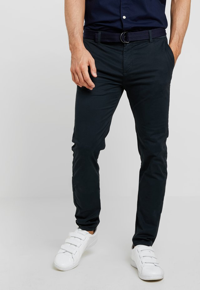 SLIM FIT BELTED - Chino - dark navy
