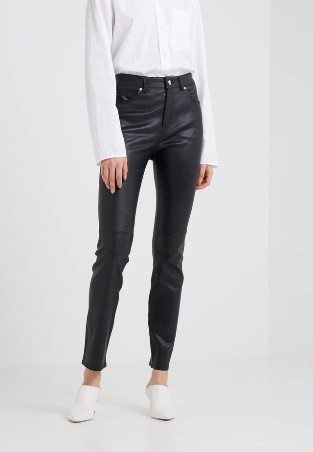 LENIM - Pantalon en cuir - black